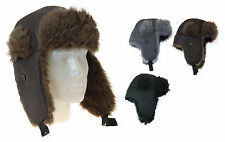 Ladies/Mens Unisex Trapper Style Hat Warm Winter Hat with Fur and Quilted Lining