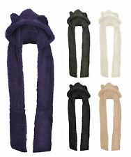 Womens Ladies Girls Kids Faux Fur Long All In One Soft Hood Hats Scarf Gloves