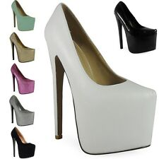 NEW WOMENS LADIES BLACK PLATFORM 7 INCH HIGH STILETTO HEEL PUMPS COURT SHOES 3-8