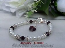 Crystal Birthstone Bracelet with White Pearls Hand made ~ Choose Month / Colour