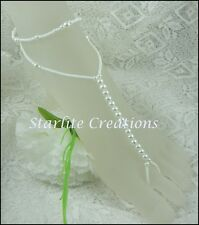 """Barefoot Sandals with Anklets White Pearl """"WRAPS"""" Bridal Foot Jewellery 1 pair"""