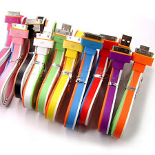 3FT Flat Noodle USB Sync Data Charger Cable for Apple iPhone 3G 4 4S 5 LOT
