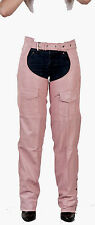 LADIES PINK LEATHER MOTORCYCLE CHAPS SIZE XSMALL TO 4XL NEW WOMENS,BIKER