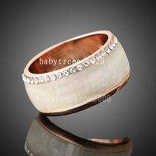 18K Rose Gold GP Swarovski Crystal Shell Wedding Ring R1334