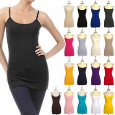 Spaghetti Strap Cotton Camisole Tunic Long Basic Plain Tank Top S M L 1X 2X 3X