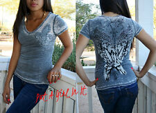 CRYSTAL MINERAL WASH BURNOUT FLEUR DE LIS WINGS FEATHER BIKER V NECK SHIRT S M L