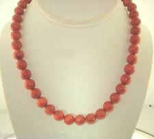 8MM-14MM GENUINE NATURAL INDO-PACIFIC ROUND RED SPONGE CORAL BEAD NECKLACE 18""