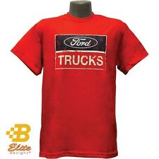 FORD TRUCKS DISTRESSED LOGO RED 100% PRE-SHRUNK COTTON SHORT SLEEVE TEE SHIRT