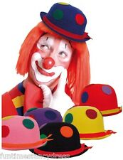 Felt Spotted Binky Clown Bowler Hat Coco Clown Comedy Red Nose Day Fancy Dress