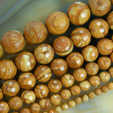 "Faceted Natural Yellow Wood Grain Japser Beads 15.5"" Pick Size 4,6,8,10,12 14mm"