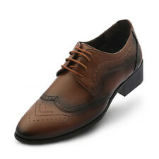 New Trend Mens Elevator Taller Height Incresing Dress Formal Shoes Brown