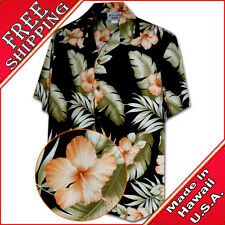Mens Tropical Shirt Orange Hibiscus 410-3743 Black NEW Made in Hawaii with Aloha