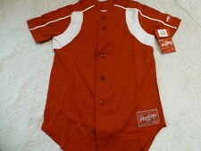 Youth Boys RAWLINGS RED With WHITE TRIM Baseball Full Button Down JERSEY New