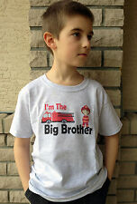 I'm the BIG BROTHER Firetruck T-shirt red fireman fire truck alarm rescue 911