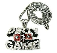 """Hip Hop Iced Out Dirty Game Dice Crystals Pendant & 36"""" Franco Chain"""