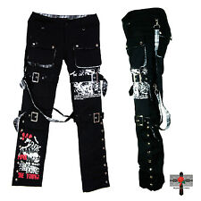 Unisex Visual Kei Rock Tartan Suspender Cyber Street Fighter Emo Punk Pants