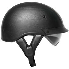 BLACK LEATHER DUAL VISOR DOT Motorcycle HALF Helmet Outlaw Smoke Shield T72 NEW