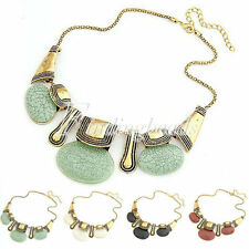 HOT Vintage Retro Golden Chain Resin Stone Pendant Chunky Adjustable Necklace
