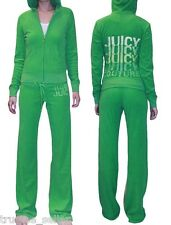JUICY COUTURE Logo Embroidery Spring Green Soft Terry Hoodie Pants Tracksuits