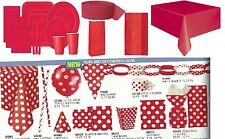 RUBY RED Tablecovers, Napkins, Balloons, Party Bags, Streamers, Plates, Cups etc