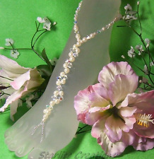 Ivory Pearl & Clear AB Crystals TWIST beach bridal Barefoot Sandals anklets 1pr