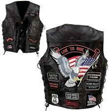 Black Men's Genuine Leather Motorcycle Vest w/14 Patches MC Biker