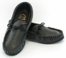 Mens LEATHER HAND MADE CASUAL MOCCS MOCCASINS SLIPPERS SHOES BLACK sizes 6 to 13
