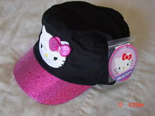 NWT Girls Juniors Teens Hello Kitty Cadet Style Black Pink Glitter 3 snap on bow