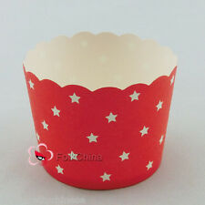 Red Stars Cake Baking Paper Cup Cupcake Muffin Cases Liners Wedding Home Party
