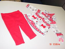 NWT Infant Girls 2 pc set Carters Fleece Hooded Jacket Red Pants Snowflakes Dog