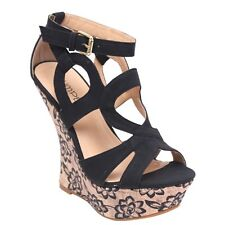 Adorable Black Wedge Platform Sandals 5.5 6 6.5 7 7. 8.5 9 10