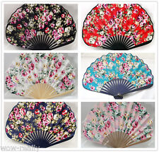 Chinese Japanese Folding Hand cotton Bamboo Flower Fan Hot New art crafts fans