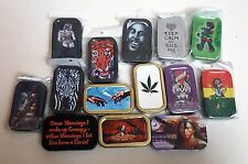 1oz Metal Hinged Baccy Tobacco Stash Rizla Accessories Gift Tin Pick Style new