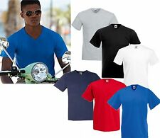 3 MENS V NECK FRUIT OF THE LOOM COTTON T SHIRTS, CHOOSE YOUR PACK COLOURS