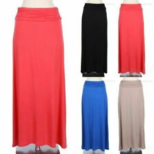 Ruched Waistband Solid Maxi Skirt Full Length Long Gorgeous Stylish Cute Spandex