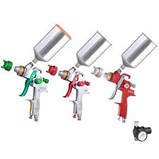 HVLP Spray Gun 2.5mm/1.4mm/1.3mm Tip Auto Paint w/ Gauge Gravity Feed Nozzle Car