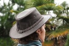 Ridge Hill Soft Brown Foldable Leather Hat by Wombat  Leather Bush Aussie Hat