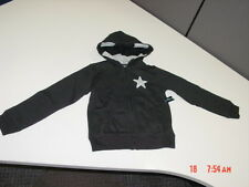 NWT Girls Faded Glory Black Zippered Hoodie with Star Knit Lined Hood
