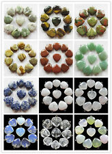XIN15  Beautiful Carved mixed gemstone heart pendant bead 10pcs