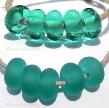 5 LIGHT TEAL * donut handmade lampwork glass spacer beads TANERES sra