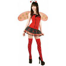 Lady Bug Insect Animal Red Fancy Dress Up Halloween Sexy Adult Costume w/ Wings
