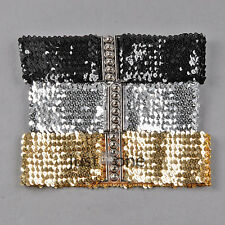 Fashion Ladies Girls Women Bling Sequins Shining Stretchy Wide Belt Waistband