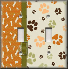 Light Switch Plate Cover - Dog Bones And Paws - Animal Home Decor