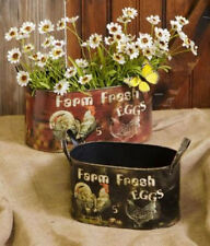 """2 PC SET METAL OVAL CONTAINERS / PLANTERS ROOSTERS & HENS LARGE 5 3/4"""" X 11 3/4"""""""