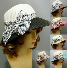 Stylish Bucket Hat Summer Fashion Silk Flower Wide Brim Sun Paper Straw Style