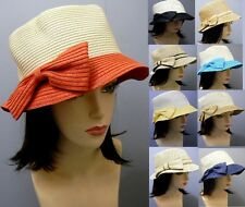 Bow Bucket Hat Stylish Fashion Summer Beach Brim Paper Straw Church Elegant NEW
