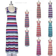 Multi Colorful Striped Long Maxi Dress Racerback Scoop Neck Casual Comfy Span