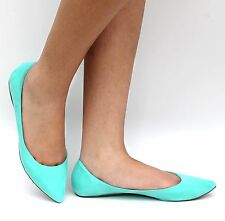 New Womens BTa Mint Green Pointed Toe Suede Ballet Flats sz 5.5 to 11