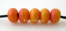 STRIPED CORAL MINI * Lampwork Glass Spacer Beads TANERES sra - glossy or matte