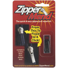 Zippermend Zipper Mend Black Silver or Antique Brass Zipper Pull Repair Kit! NEW